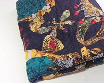 Black Print Fabric, 1 Yd Sewing Remnant, Vintage Mystery Fabric,  Sewing Supplies