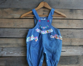 SUPER SALE - Vintage Children's Blue & Floral Romper by Cuties by Judy Size 3-6 Months