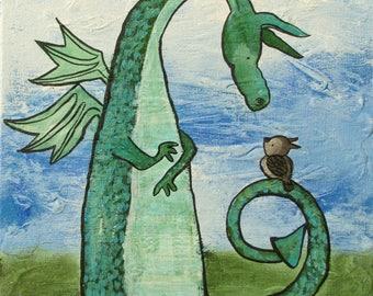 Dragon Nursery Art Fairy Tale Childrens Room Decor Whimsical Owl Storybook Artwork Original Painting Cute Baby Room Art