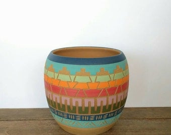 Bohemian colorful planter Ceramic planter succulent planter indoor planter pot  Carved  sgraffito Vase Geo Aztec Geometric boho decor garden