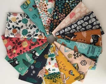 Fat Quarter Bundle - 14 different fat quarters - ORGANIC  HIDDEN GARDEN by Miriam Bos for Birch Fabrics