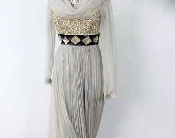 Silver Evening Gown, Long Flowing Chiffon Dress, Formal Party Dress, Womens 1950s Grey Sequin Evening Gown, Mike Benet Gown, Size 5