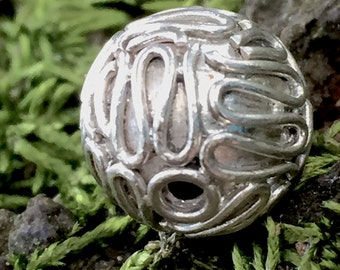 1 Squiggly Bead in Sterling Silver 10mm - Bali Bead - S11