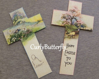Vintage Easter Cards, 2 Pieces Cut Out Crosses with Sentiments, Birds & Flowers, Sheep, Scripture on Back, 1900's