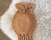 vintage woven straw owl / wall hanging macrame bird