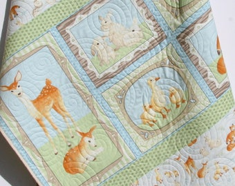 Forest Baby Quilt, Boy or Gender Neutral Baby Bedding Nursery Blanket Toddler Bedding Woodland Nursery Fox Deer Pastel Blue Green Woodland