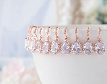 Set of 6 Rose Gold Bridesmaid Earrings 15% OFF, Teardrop Clear Crystal Cubic Zirconia Wedding Earrings, Bridal Earrings, Bridesmaid Gift