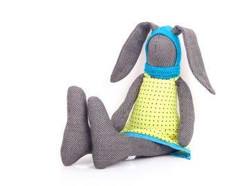 Plush easter bunny , stuffed rabbit , handmade doll , easter gift , stuffed animal , soft toy , bunny plushie , ragdoll rabbit , black doll