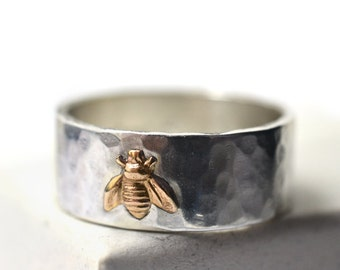 Hammered Silver & 14K Gold Honey Bee Ring with Custom Engraving, Insect Charm Wedding Band for Men and Women