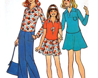 Simplicity 7107 Vintage 70s Sewing Pattern for Girls' Short Two-Piece Dress or Top- Uncut - Size 12 or 14