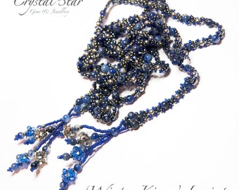 PDF beading tutorial pattern - Winter Kisses lariat necklace