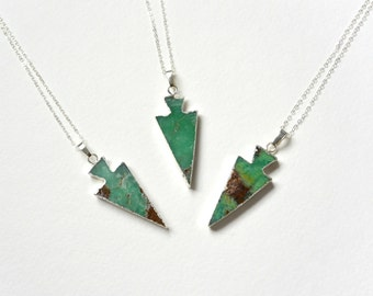 Chrysoprase Arrowhead Necklace, SILVER Long Necklace, Green Arrowhead Pendant, Silver Dipped Arrowhead Necklace, Chrysoprase Jewelry