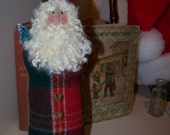 Primitive Christmas Victorian Belsnickel Folk Art Santa Claus Red and Green Plaid Wool from Darlas Closet