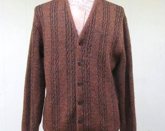 Vintage 1960s Sweater / 60s Brown Wool Ribbed Cable Knit Boyfriend Cardigan / Medium