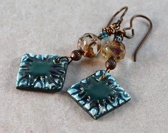 Boho Teal Square Ceramic Charm Champagne Glass Earrings Rustic Earthy Artisan Earrings