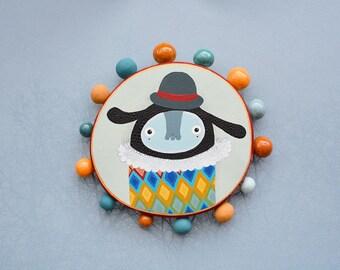 Wall décor, nursery kids décor, circus bugaboo, painting on wood