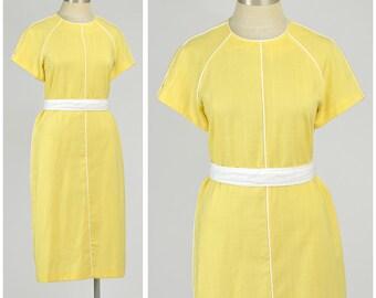 Vintage 80s Dress White & Yellow Dress Short Sleeve Sheath Dress Knee Length Belted Dress Spring Dress 1980s Dress