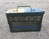 Engraved Ammo Box Police Officer Law Enforcement Badge Cop Fireman EMT Flag red line hero husband military Ammunition Survival Valentines