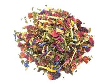 Peppermint Floral Tea- Hand Blended Loose Leaf Herbal Tea, Peppermint Tea, Iced Tea, Caffeine Free, 2 oz Hand Crafted Tea