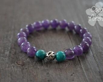 Bracelet zen - Yoga jewellery - Améthyste - Turquoise - Bracelet pierres semi-précieuses - Coco Matcha