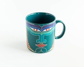 Vintage Laurel Burch Vayu Mug Coffee Cup 1980s Art Mug Made in Japan