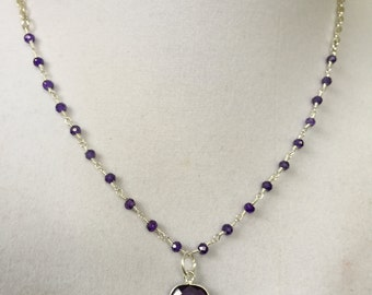Silver Amethyst  Necklace - February Birthstone