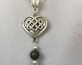 Silver Celtic Heart and Connemara Marble Necklace
