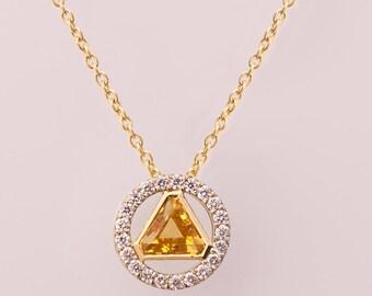 Triangle Pendant, Art Deco Pendant, Citrine Pendant, Two Tone necklace, diamond pendant, gift, diamond pendant, November Birthstone