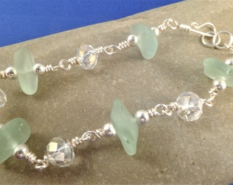 Seafoam mint sea glass bracelet with crustal rondelles, silver plated wire, wire wrapped beads