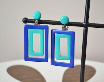 1960s Mod Blue Rectangle Clip Earrings