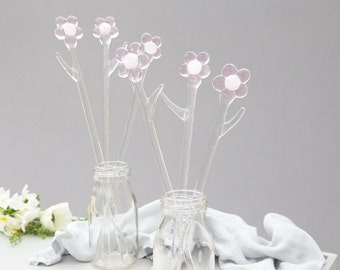 Pink glass flowers