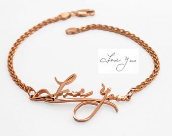 Signature Bracelet, Handwriting bracelet, 14K Gold Personalized Bracelet, Handwritten Jewelry, Handwritten Bracelet Jewelry gift
