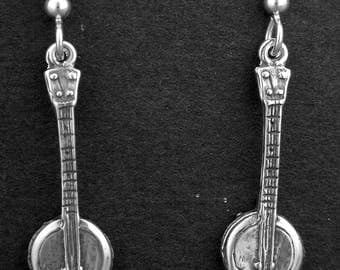 Sterling Silver Banjo Earring on Heavy Sterling Silver French Wires