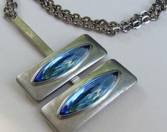 Jorgen Jensen Pewter Modernist Blue Cat's Eye Pendant Necklace 1960s
