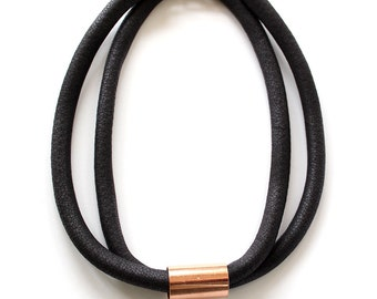 LUXE Black Leather Look Fabric Double Loop Rope Necklace