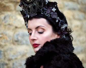 Black Velvet 'Rose Noir' Cameo Couture Kokoshnik Headdress