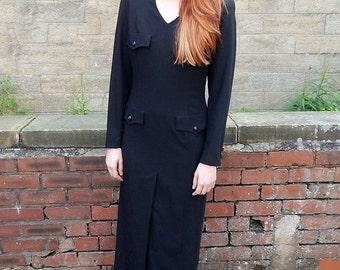 Vintage 80s Karl Lagerfeld Black Pocket Detail Gown UK Size 10/12