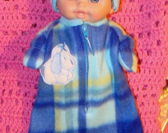 Lil Cutesie doll clothes - Blue plaid snow bag with puppy applique and hat