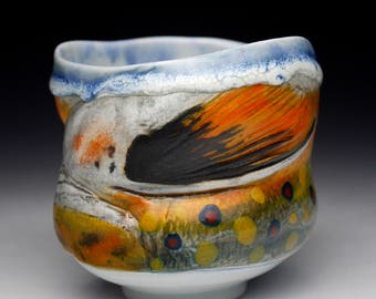 Fish Brook Trout Porcelain Cup Yunomi (Nature as Objects) Gyotaku Gas Fired Pottery
