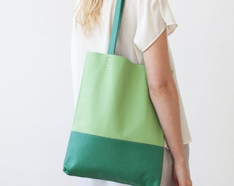 Clearance SALE Emerald Green and Lime Leather Tote bag