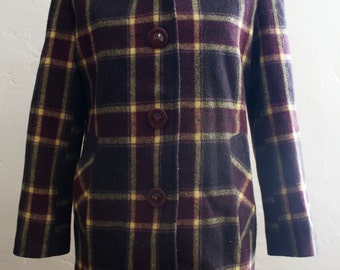 Vintage | Plaid Wool Coat  | 1980s | Size Small