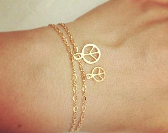 Gold bracelet, Layered bracelet, Gold charm bracelet, Peace bracelet, Gold filled bracelet, Dainty charm bracelet, Gift under 20