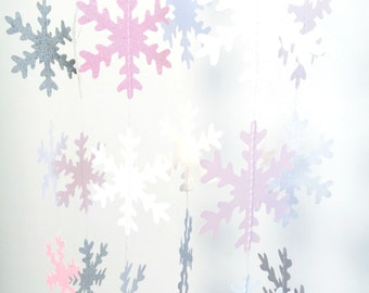 Blush Pink, Silver And White Snowflake Garland, Winter Onederland Banner,  Pink And Silver