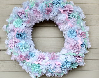 Spring Evergreen Wreath, Pastel Wreath, Easter Decor, Pastel Pinecone Wreath, Easter Wreath, Front Door Wreath, Spring Decor