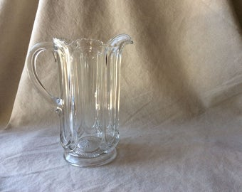 Antique American Colonial Glass Ale Pitcher - Large CUt Glass Pitcher -American Glass