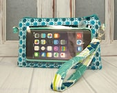 Ready to Ship • cell phone wristlet • stadium approved size bag • small wristlet • teal dots • phone pocket • Keep in Touch Wristlet™ •  2b