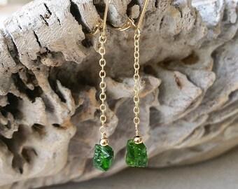 Chrome Diopside Earrings, Emerald Green Chrome Diopside Earrings, Gold Emerald Green Chrome Diopside Earrings, Gold Chrome Diopside Earrings