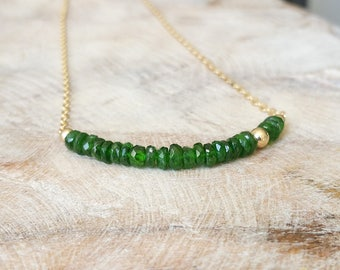 Chrome Diopside Bar Necklace in Gold or Silver
