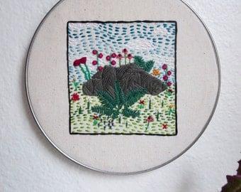 Hand Embroidered Hoop Art Original Nature Art Geometric Embroidery  Embroidered Nature Art Embroidered Wall Art