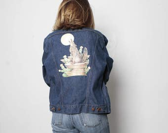 vintage DENIM wrangler JEAN jacket with DESERT scene howling wolf full moon iron on patch